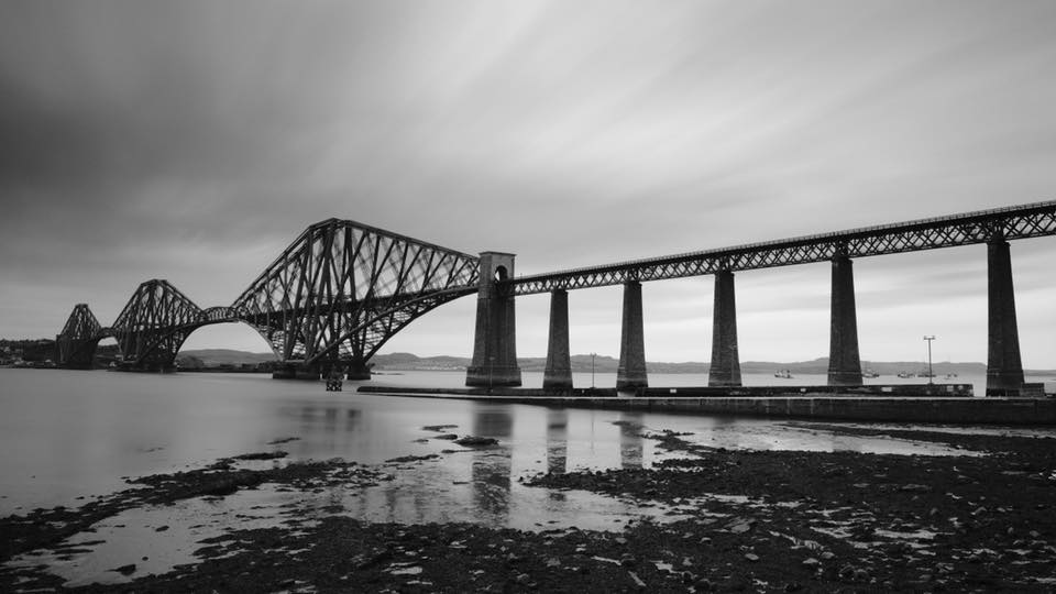 Black and white photograph of the Forth Bridge, Queensferry, Edinburgh