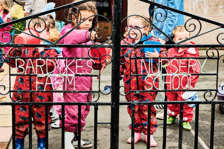 colour photograph of nursery children