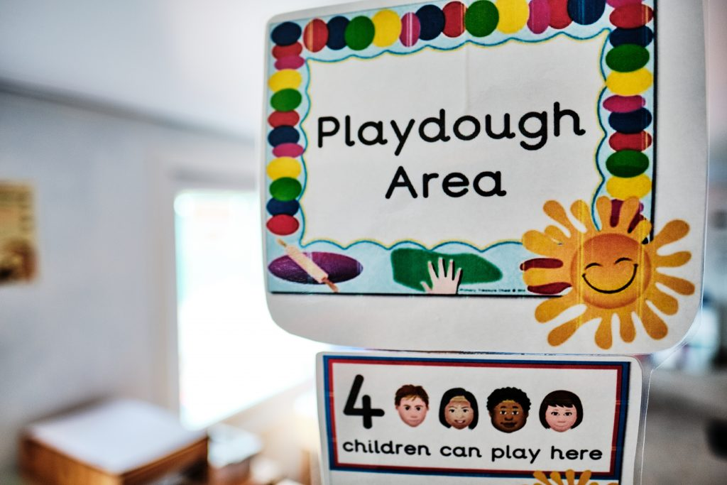 colour photograph taken of a sign at a nursery school